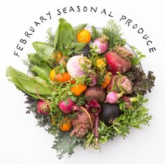February Produce: Arugula Asparagus Beets Bok Choy Broccoli Brussels Sprouts Cabbage Cauliflower Carrots Celery Cilantro Clementines Dill Fennel Grapefruit Kale  Lemons Lettuce Leeks Oranges Onions Parsnips Pears Rhubarb Shallots Sweet Potatoes Tangelos Tangerines Turnips