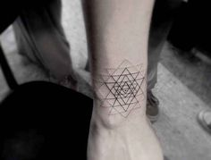 small geometric flower tattoo behind neck - Google Search