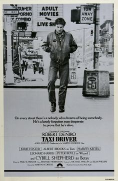 """Taxi Driver"" (1976). COUNTRY: United States. DIRECTOR: Martin Scorsese. SCREENWRITER: Paul Schrader. COMPOSER: Bernard Herrmann. CAST: Robert De Niro, Cybill Shepherd, Jodie Foster, Albert Brooks, Harvey Keitel, Peter Boyle, Leonard Harris, Martin Scorsese, Joe Spinell"