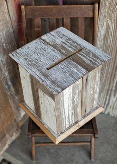 White Barnwood Wedding Card Box...Megan do you think Brian can make this too?? Haha