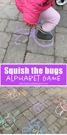 Squish the Bugs Alphabet Game – HAPPY TODDLER PLAYTIME Squish the bug gross motor activity is a fun way to get your moving and learning their letters! It's a great activity for spring! Bug Activities, Outdoor Activities For Kids, Games For Toddlers, Infant Activities, Learning Activities, Toddler Gross Motor Activities, Toddler Games, Vocabulary Activities, Outdoor Games