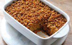 Moroccan Chickpea Bake - The three layers in this casserole are inspired by three classics — tagine, hummus, and falafel. Together, they create something modern and unique. Best Vegan Recipes, Vegan Dinner Recipes, Vegan Dinners, Whole Food Recipes, Vegetarian Recipes, Cooking Recipes, Favorite Recipes, Chickpea Recipes, Delicious Recipes