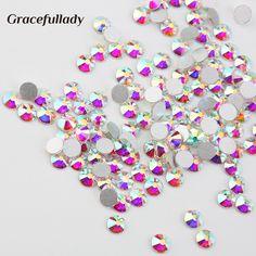 Super Glitter Crystal AB Rhinestone Flat Back Glass Nail Rhinestones For Charms 3D Nails Art Decorations Strass