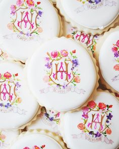 This Romantic Rooftop Bridal Shower Was Inspired by Marie Antoinette | Martha Stewart Weddings - Guests left with something sweet: sugar cookies from Sogi's Honey Bakeshop in Brooklyn. Annie's hosts even had the bakery re-create the same monogrammed design found on Annie and Henry's wedding stationery suite by Happy Menocal.