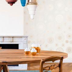 Layers - Cirkler - Guld - Grafisk tapet - Tapetkunst.dk