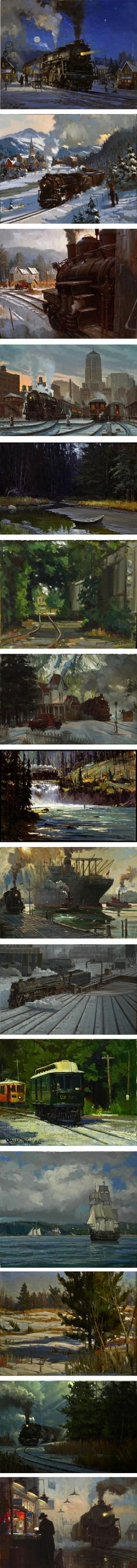 David Tutwiler, trains, landscape paintings