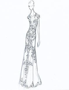 #RiviniBridal sketch of wedding dress