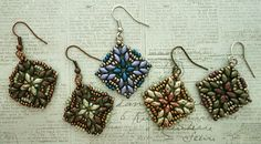 Linda's Crafty Inspirations: SuperDuo Tile Earrings - Five Samples Beaded Earrings, Crochet Earrings, Beaded Bracelets, Rings N Things, Shape Design, Vintage Roses, Earring Backs, Accent Colors, Bead Weaving