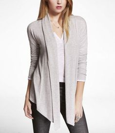 Pointed Hem Open Cover-Up Sweater at Express $59.90 in Silver Gray, size Small or Medium