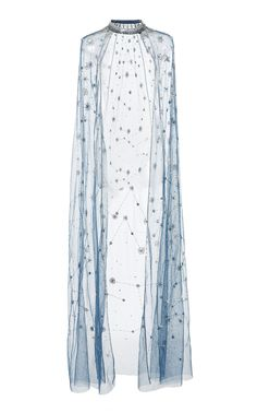 This **Cucculelli Shaheen** Constellation Cape features a sheer bodice with a maxi length silhouette and banded collar. Pretty Outfits, Pretty Dresses, Beautiful Dresses, Mode Kpop, Mein Style, Cooler Look, Stage Outfits, Mode Vintage, Costume Design
