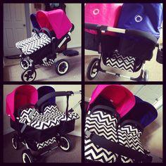 Bugaboo donkey twin stroller with custom fabric ❤it By dreamworksboutique