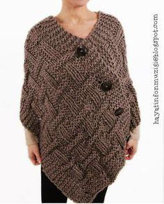 Poncho Shawl, Knitted Poncho, Poncho Knitting Patterns, Crochet Patterns, Body Warmer, Crochet Fashion, Crochet Designs, Crochet Clothes, Crochet Projects