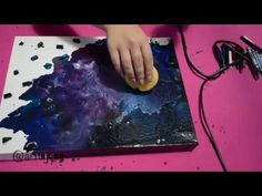 Space - A melted crayon Art piece Diy Crayons, Melting Crayons, Galaxy Painting, Diy Painting, Diy Wall Art, Diy Art, Crayon Art Tutorials, Melted Crayon Canvas, Melted Crayon Crafts