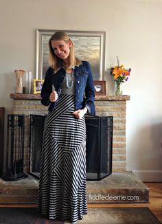Mystree Mixed Stripe Jersey Maxi Dress Stitch Fix Review April 2014