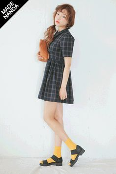 Checkered Lady Dress With Peter Pan Collars $69.25