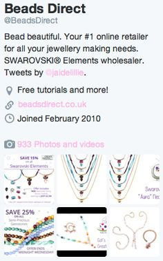 Follow Beads Direct on Twitter and keep up to date with offers, makes and tutorials! <3 Why not find and connect with other beaders with us, and show us your beautiful jewellery creations! <3