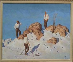 For Sale on - Skiers on the Pengelstein. A superb oil painting on panel in the style of Alfons Walde with an unknown artists monogram. The artist has captured Oil Painting On Canvas, Watercolor Paintings, Canvas Art, Paintings Of Christ, Mountain Pictures, Kunst Online, Italian Baroque, The Ch, Vintage Ski