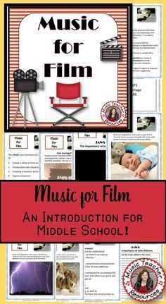 Music for Film for Middle School music ♫ This resource is a 22 page PDF file with information about the purpose of music in films, links to videos, as well as written response activities for students ♫ Print off the students response pages individually or combine to create a student workbook. ♫ CLICK through to read more or save for later! ♫ #musiceducation