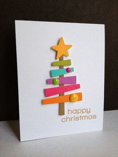 """Happy Christmas"" Tree Card...with paper strips...Lisa A.: I'm in Haven. You could also use the traditional green & red colors for this card."
