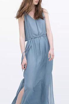 grey sleeveless high waist maxi dress with slit | USTrendy #ustrendy www.ustrendy.com