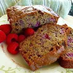 Raspberry Banana Bread (Changes- half whole wheat flour, sub half of the oil for applesauce, other half of oil use coconut, use 1/2 cup sugar, and 1/4 cup of honey)
