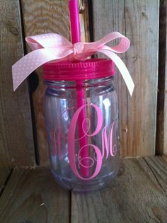 Monogram mason jar tumbler Customizable 16 by southernyankeegirls, $18.00