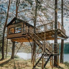 Image may contain: tree, sky and outdoor via Swiss Family Robinson Treehouse, Tree House Plans, Tree House Designs, Tiny House Nation, Cool Tree Houses, Cabin In The Woods, Tiny House Big Living, Cabana, Survival