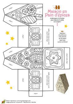 Coloriage et activités Noël tendresse, maison pain d'épices à décorer - Hugolescargot.com