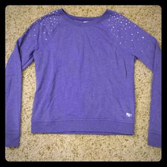 Victoria's Secret PINK rhinestone sweatshirt lilac So soft on the inside! Only worn a few times... no rhinestones missing Victoria's Secret Sweaters Crew & Scoop Necks