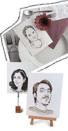 Tischkarten-Ideen mit Karikaturen für Firmen-Events, Gala-Dinners, Geburtstage, Hochzeiten und andere Familien-Feiern. www.kiss-karikatur.de
