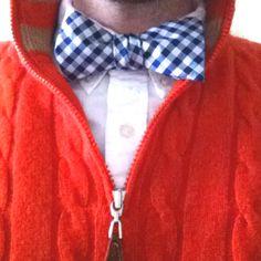Blue gingham bowtie and orange cashmere 1/4 zip sweater