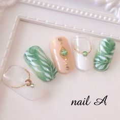 pink and leaf nails