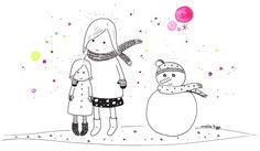 Amelie Biggs_sœurs bonhomme de neige (feutre)