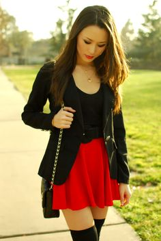 Asian Fashion, New Fashion, Womens Fashion, Fashion Tips, Fashion Ideas, Red Skirts, Skater Skirts, Hapa Time, Jessica Ricks