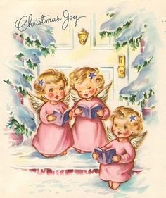 Vintage Christmas card with angels