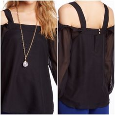 """Va Va by Joy Han Beautiful Blouse !  Beautiful """" Isabella Blouse """" ! Color is black ! Square neck ! Open shoulder ! Long sheer sleeves with button closure ! Lined ! 100% polyester ! Approximately 25.5 inches in length ! Soft and flowing ! Gorgeous !  Va Va by Joy Han Tops"""