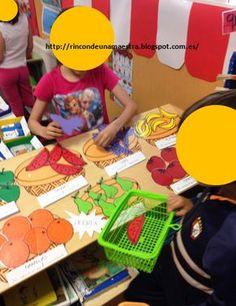 El año pasado en 2º creé en mi aula el Mercado de frutas para trabajar las monedas, la multiplicación, el diálogo en el supermercado...   ...