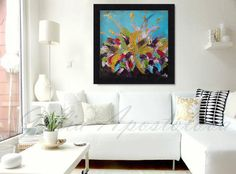 Framed Art, Original Painting, Abstract Floral Painting, Turquoise, Gold, Large Wall Art, Massive Black Frame, Home Decor, Julia Apostolova by juliaapostolova. Explore more products on http://juliaapostolova.etsy.com
