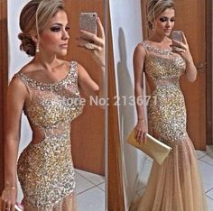 High Quality Custom Size New Style 2014 Design Champagne Sparkles Bodycon Sheer Top Neck Long Beaded Prom Dress Women Gown