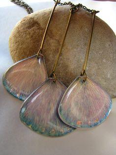 unique necklace by florizi- metal, real petas, resin