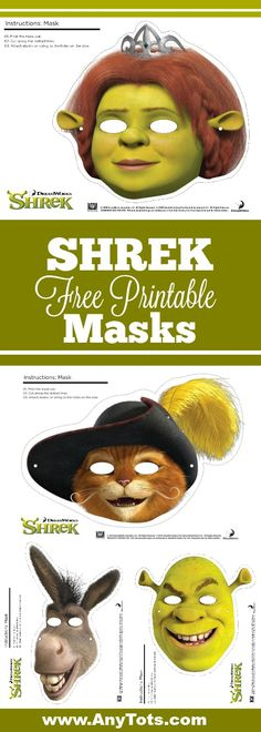 Shrek Free Printable Party Masks for a fun Shrek Party. More Shrek Party Ideas and Shrek Free Printables on www.anytots.com