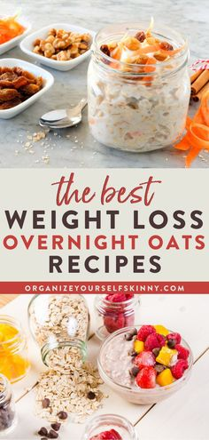 The Best Weight Loss Overnight Oats Recipes | Healthy Oatmeal Recipes - Overnight oats are cheap, delicious, nutritious, and one of the easiest recipes to meal prep for the week. But, did you know they're great for weight loss too? Yep! Today I'm sharing my best weight loss overnight oats recipes and tips. Organize Yourself Skinny | High Protein Breakfast | Meal Prep Recipes | Healthy Bowl Recipes #breakfast #mealprep #healthyeating #mealplanning Cheap Healthy Breakfast, Healthy Breakfast Recipes For Weight Loss, Healthy Oatmeal Recipes, Oats Recipes, Protein Breakfast, Weight Watcher Overnight Oats, Protein Overnight Oats, Baked Oats, High Protein