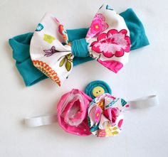 Toddler Headband Set, Little Girls Spring Hair Accessories, Bow Headband, Shabby Chic Headbands, Photo prop headbands, toddler couture by GirlWithATwirl on Etsy https://www.etsy.com/listing/225591605/toddler-headband-set-little-girls-spring