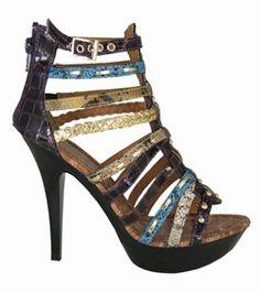 Cherag - High Heel Gladiator Sandals - Purple