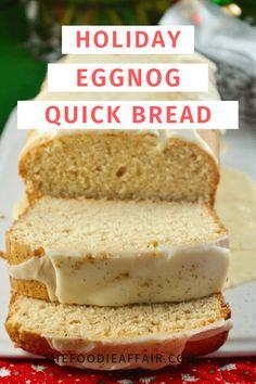 Holiday Eggnog Bread Holiday Bread, Christmas Bread, Holiday Cakes, Christmas Cooking, Holiday Desserts, Holiday Baking, Holiday Recipes, Christmas Snacks, Christmas Cakes