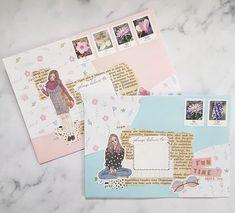 Pen Pal Letters, Cute Letters, Journal Fonts, Journal Stickers, Snail Mail Pen Pals, Mail Ideas, Beautiful Notes, Envelope Art, Happy Mail