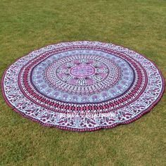 Buy Pink multi good vibes birds elephant bohemian mandala round beach throw to make your style statement at beach tour. Quick shipping worldwide USA, UK, Canada, Australia and more.