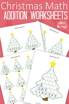 Free Printable Christmas Math Worksheets Addition - we love all these worksheets - this site is full of amazing resources! Math Multiplication Worksheets, Christmas Math Worksheets, Math Addition Worksheets, Math Activities For Kids, Math For Kids, Fun Math, Christmas Maths Activities, Maila, Homeschool Math