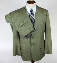 Manoj Custom Bespoke Suit size 40R Blazer Trousers 34w 31l Dual Vent Green Plaid #Manoj #TwoButton