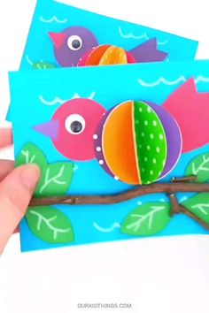 animal crafts for kids This Spring Bird on a Branch Craft is colorful, its fun, and it includes real sticks from nature. It's all the things a fun spring kids craft should be! Animal Crafts For Kids, Spring Crafts For Kids, Paper Crafts For Kids, Summer Crafts, Toddler Crafts, Projects For Kids, Paper Crafting, Fun Crafts, Art For Kids